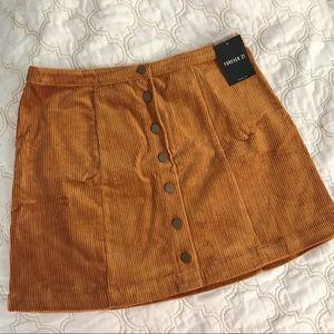 Forever 21 Button Front Corduroy Mini Skirt